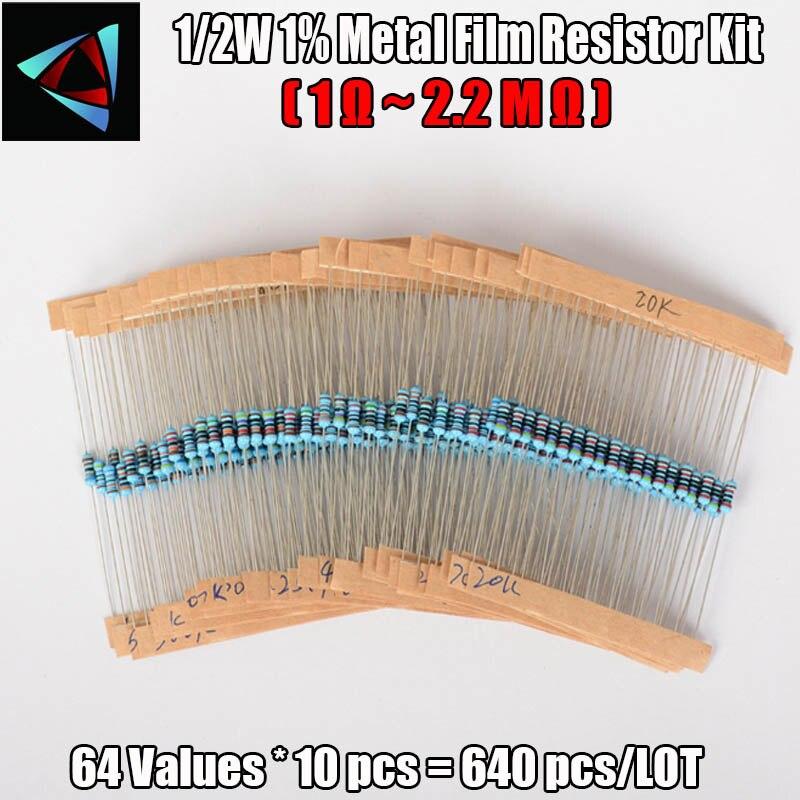 640pcs 64 Values 1R - 2.2MR 1/2W 1% Metal Film Resistors Assorted Kit Set