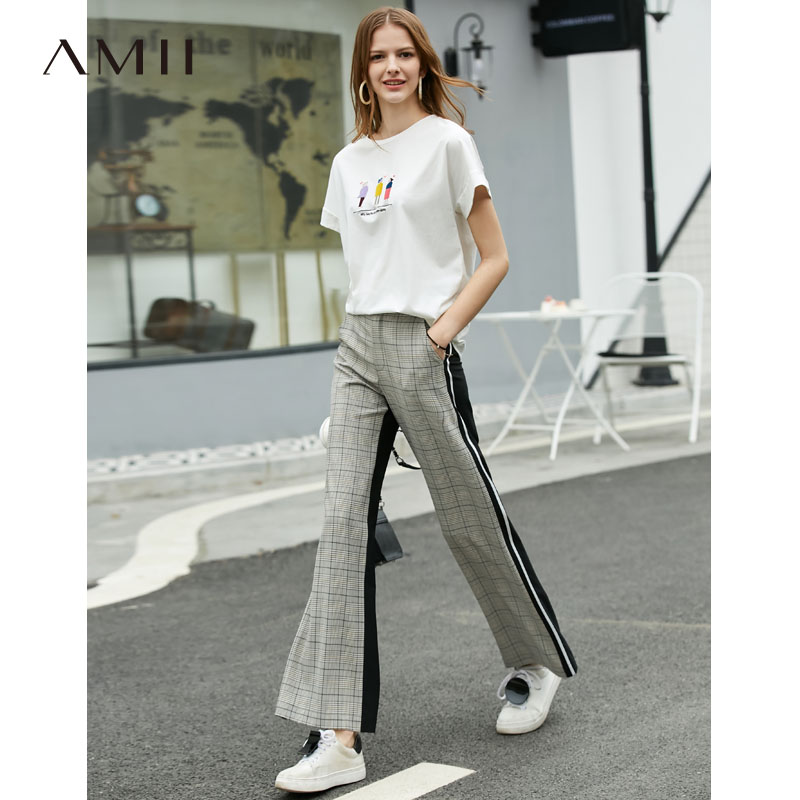 Amii Minimalist Patchwork Plaid Pants Female 2019 Causal Loose High Waist Panelled Zipper Fly Women Wide