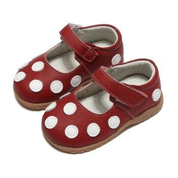 Zapatos de las muchachas con lunares blancos primavera otoño cuero genuino  para niños 995771ffab33