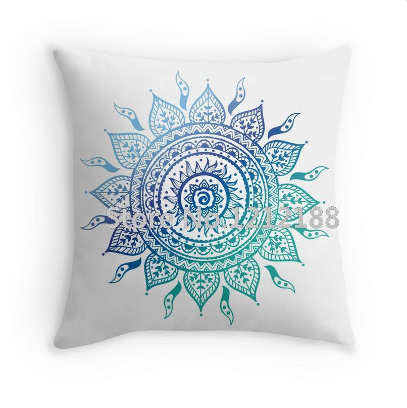 Blue Gradient Mandala Decorative Pillowcases 16 18 20 24