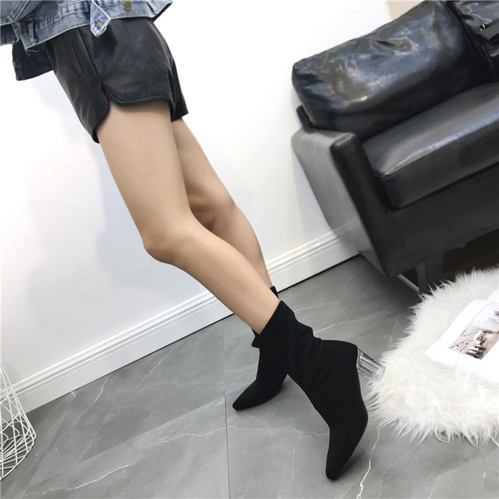 dedo Negro Botas Antideslizantes Puntiagudo Nouveau De Grueso Moda Youyedian Pie Tacón Medio Femme 2018 khaki Las Bottines La Del Tubo Mujeres 35 Zapatos 8Zxq14