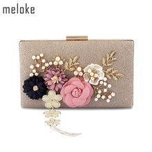 Meloke 2019 new fashion handmade floral evening bags wedding clutch bags with pearl chain party bags for ladies MN569(China)