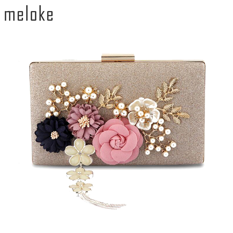 Meloke 2019 new fashion handmade floral evening bags wedding clutch bags with pearl chain party bags for ladies MN569