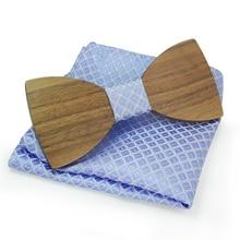 Mantieqingway  New Design Mens Pocket Square Bow Tie Set Wood Tie Gravatas Bowties Wedding Business Suit Wooden Bow Ties Hankies
