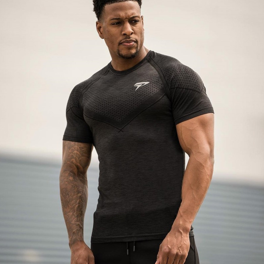 Mens Compression Skinny T-shirt Gyms Fitness Bodybuilding Tight T Shirt Male Workout Quick Dry Tee Tops Crossfit Brand Clothing