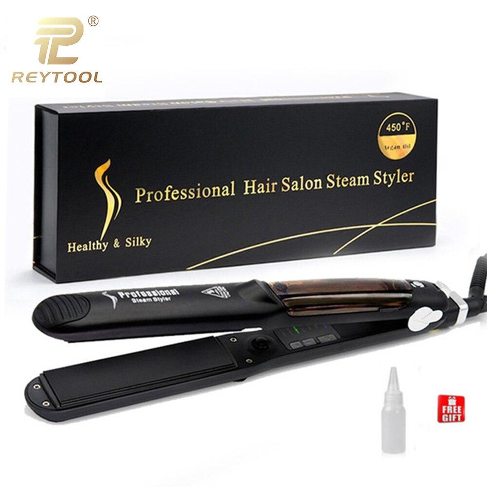 2019 Novo Vapor Vapor Chapinha Alisador de Alisador de Cabelo Profissional de Cerâmica de Calor Rápida Levou Placa de Ferro Hair styling ferramenta
