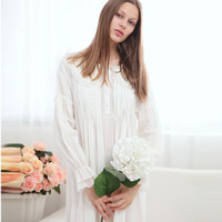 White Long Sleeves Long Nightgown for Women Princess Long Night Dress Cotton Sleepwear