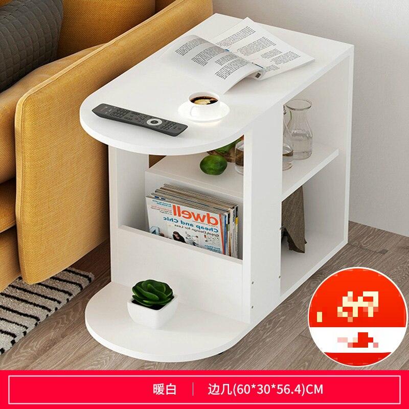 Многофункциональный журнальный столик Современная гостиная диван угловой столик имитация дерева боковые шкафы прикроватная стойка для хранения с колесом - Цвет: E