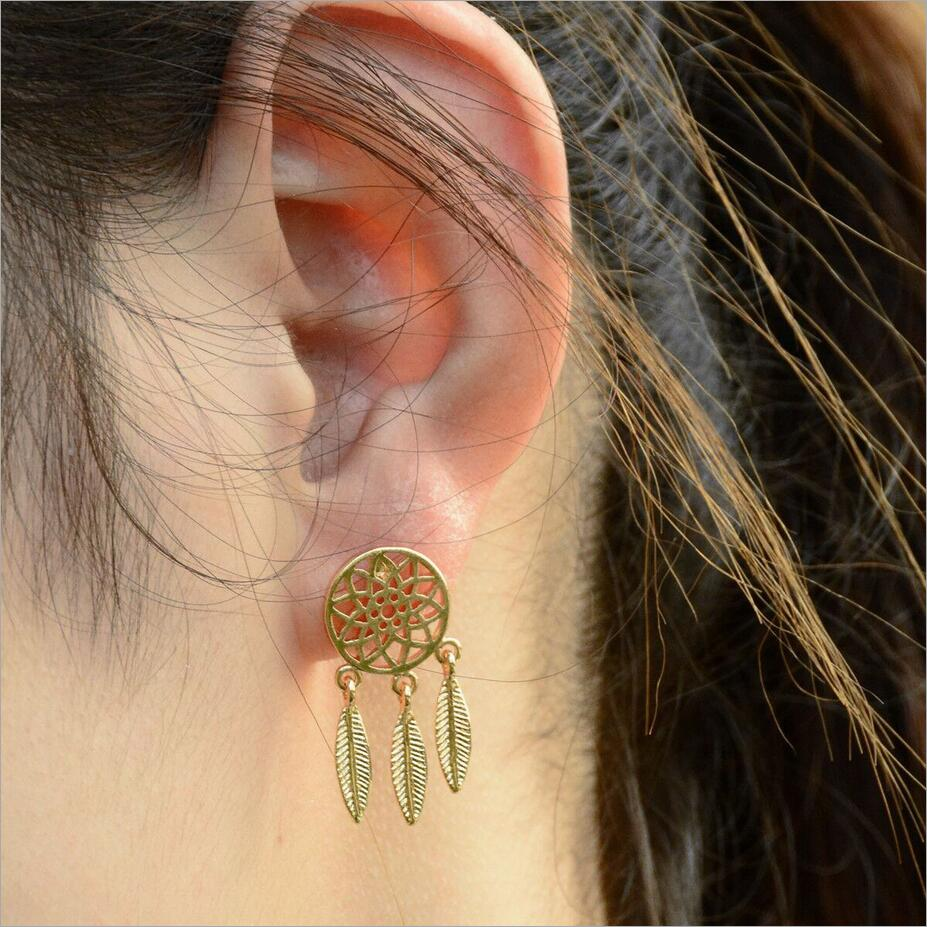 Fashion Fine Excellent Jewelry Accessories Gold Color And Silver  Dreamcatcher Feather Stud Earrings For Women E617