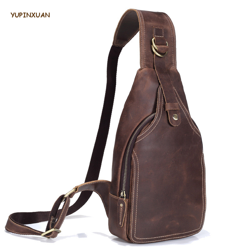 YUPINXUAN Vintage Cow Leather Chest Packs Men Genuine Leather Messenger Bags Retro Crossbody Bag Crazy Horse Chest Bag Russian