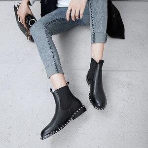 Image 5 - MORAZORA 2020 di alta qualità genuino stivali di cuoio della caviglia per le donne punta rotonda slip on stivali autunno inverno scarpe da donna nero