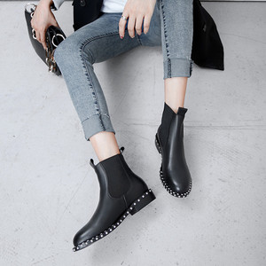 Image 5 - MORAZORA 2020 top quality genuine leather ankle boots for women round toe slip on autumn winter boots womens shoes black