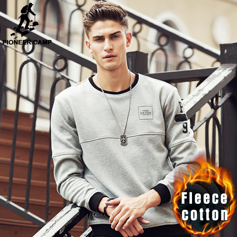 Pioneer Camp New arrival thick warm hoodies men brand clothing autumn winter sweatshirts male top quality