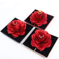 New Style Rotating Rose Ring Box Resin Red Velvet Women Rings Jewelry Packaging Display Wedding Valentine's Jewelry Gift Box