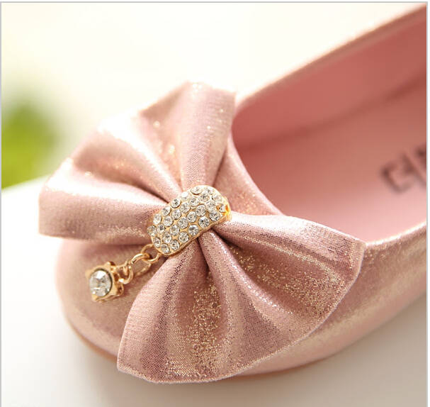 placeholder Children Princess Shoes Pink  Gold Silvers Band Soft Sole PU  Leather Fashion Bowknot Rhinestone 9318b93d886c
