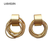 Creative Gold Color Irregular Circle Cross Border Multilayer Line Coil Hollow Out Round Small Stud Earrings For Women Girl Gifts