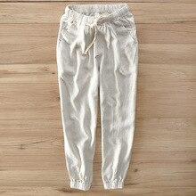 Men's New Summer Casual Pants Natural Cotton Linen Trousers White Linen Elastic Waist Flare Man's Pants Elegant and cozy