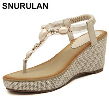 0ad860462582 SNURULANSummer new women fashion sandals sweet slope with comfortable wild  sandals Bohemian diamond cliptoe woman shoes