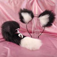 Tapón Anal de cola de zorro y pluma de Metal, juguete erótico para mujer y hombre, tapón Anal, accesorios para adultos