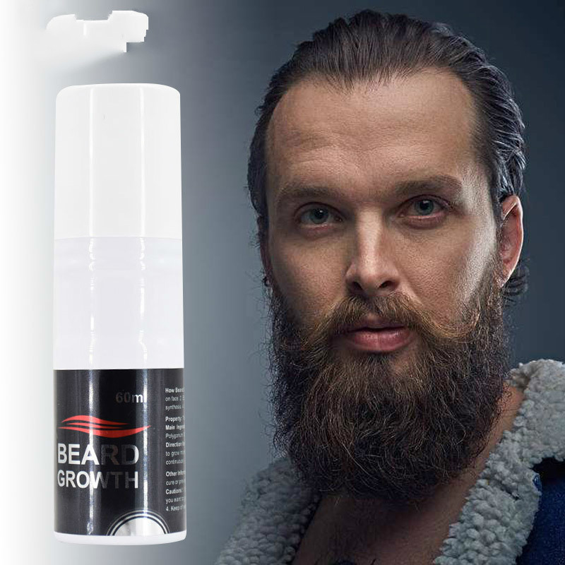 60ml Organic Men Face Beard Growth Spray Mens Grooming Hair Loss Product Mustache Thicker Fuller Men Beard Oil Styling Spray Kit