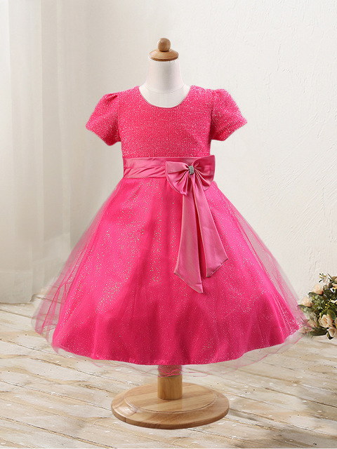 free shipping short sleeve dress kids girls dresses wedding dress childrens christmas dress pink color