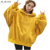 Spring Autumn Woman New Lantern Sleeve Hooded Sweatshirts Female Fashion Loose Casual BF Style Solid Color
