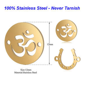 5pcs/lot 100% Stainless Steel Charms Vnistar Lotus OM Horseshoe Charms Connectors for Bracelets Wholesale