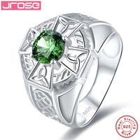 Jrose 1.37ct Created Emerald Solid 925 Sterling Silver Rings For Women Engagement Wedding Ring Amazing With box Fine Jewelry