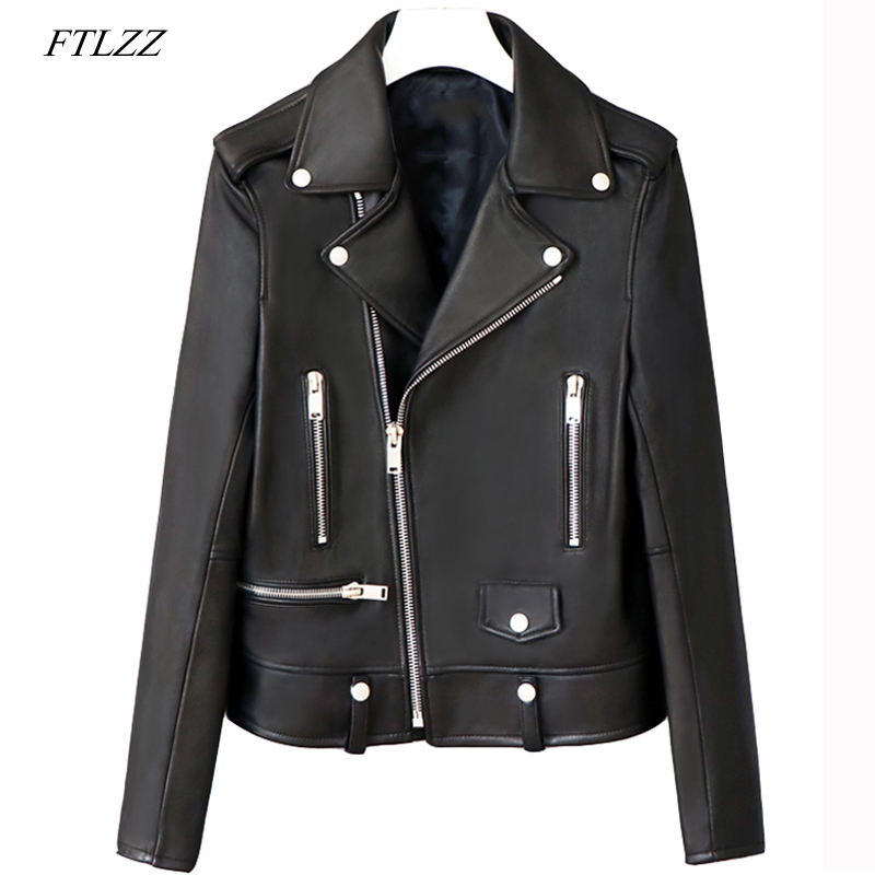 FTLZZ Black Faux   Leather   Jacket Women Spring Autumn Short Soft Pu   Leather   Motorcycle Jackets Zipper Biker Coat