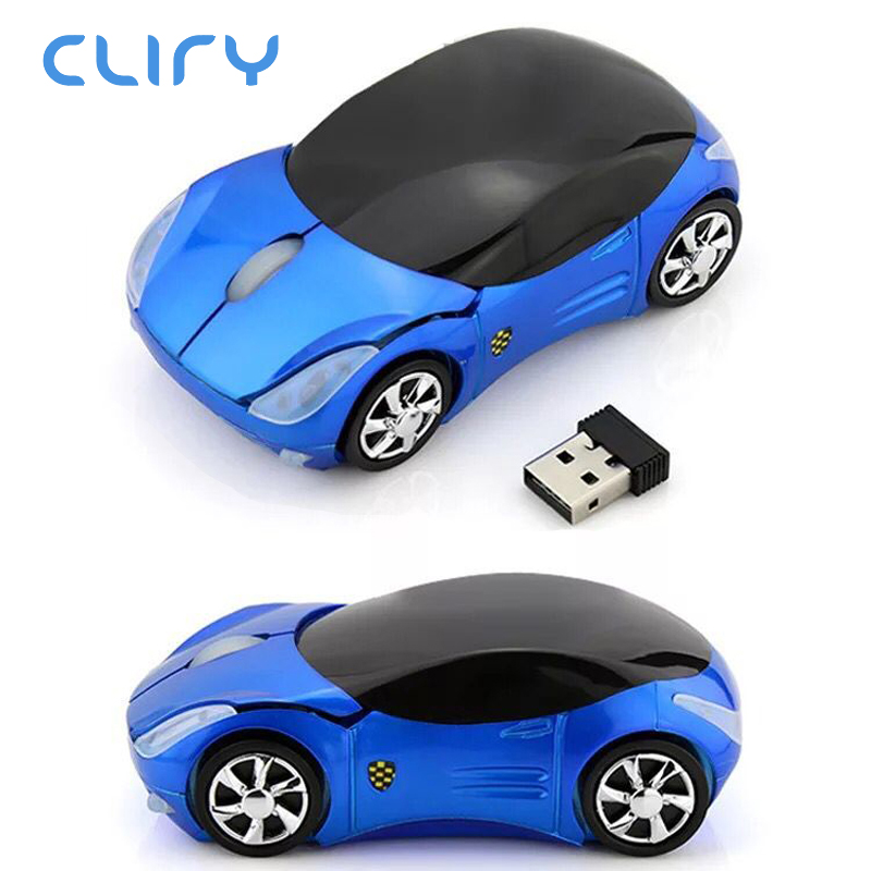 Cliry Hot Selling Wireless Car Shape 2.4G Optical Gaming Mouse computer mice for Kids Child led light 1200DPI nano receiver