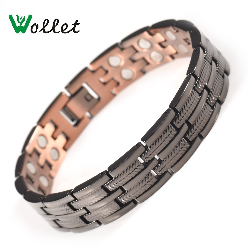Wollet Jewelry Copper Bracelet Bangle for Men Healing Energy Magnetic Therapy All Magnets Pain Relief Black Color