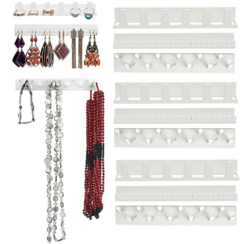 9pcs/set ABS White Jewelry Storage Hook Adhesive Jewelry Rack Sticky Hooks Wall Mount For Earring Necklace Hanger Hanging