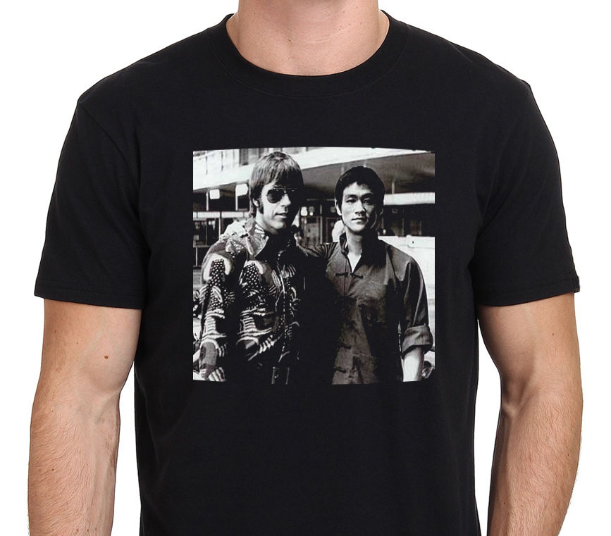 2017 Newest Men'S Chuck Norris & Bruce Lee Rare Photos Men'S Fashion T Shirt Hipster Tops Customize Short Sleeve Tees