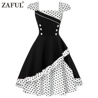 ZAFUL Plus Size 4XL Vintage Patchwork Dress Women Polka Dots Button Black 1950s Dresses Elegant Summer