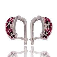 BUYEE 5 stks/set Unieke Oorbellen Oorbel Dark Red Enamel Clip Oorbellen Voor Vrouwen Bloem Geometrie Piercing Oor Sieraden