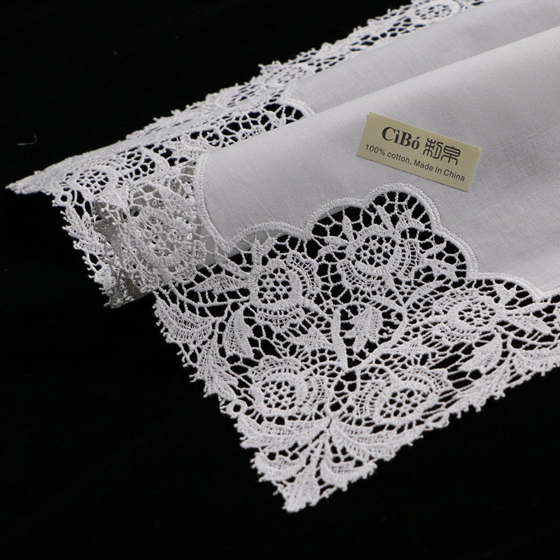 A007 White premium cotton lace handkerchiefs 12 piece pack blank crochet hankies for women ladies wedding