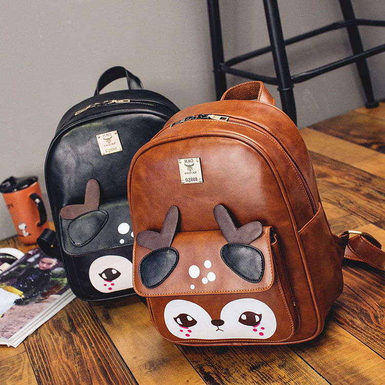WENDYWU 2017 Retro deer travel new schoolbag primary school students male and female burden backpack Fashion bag beautiful girl
