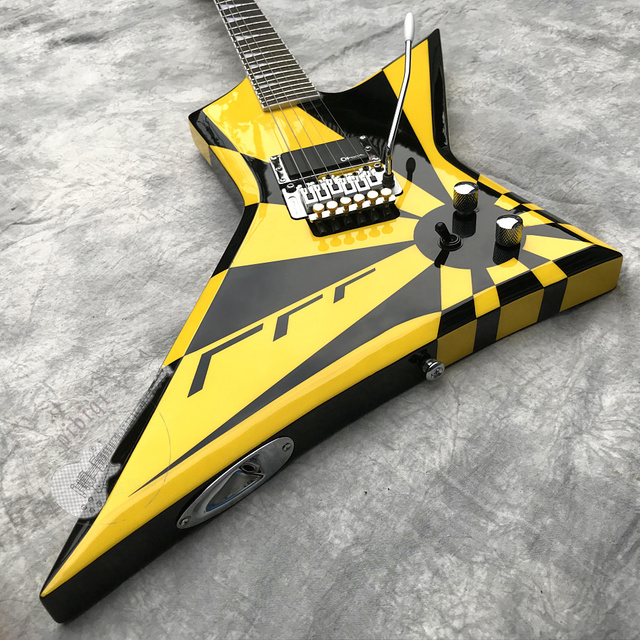 Customized irregular black and white striped electric guitar,