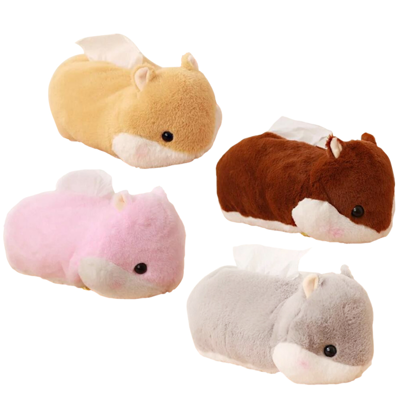 1pc 25cm Cute Hamster Plush Tissue Box Soft Staffed Animal Hamster Plush Tissue Cover Creative Home Decoration Lovely Toys tissue box red cover christmas decorations