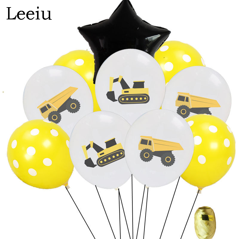 Leeiu Race Car Themed Party Excavator Latex Balloons Happy Birthday Gold Confetti Balloons Kids Baby Shower Party Decoration
