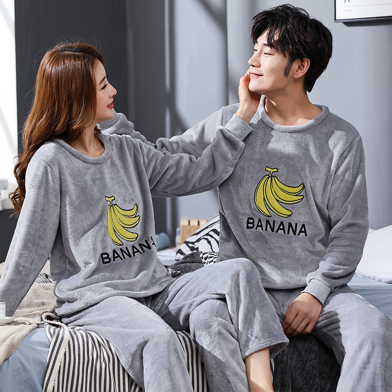 Winter Couple Cartoon Coral Velvet Pajamas Set Women Long Sleeve Plus Thick Warm Flannel Large Size Pyjamas Sets Home Suits 1807