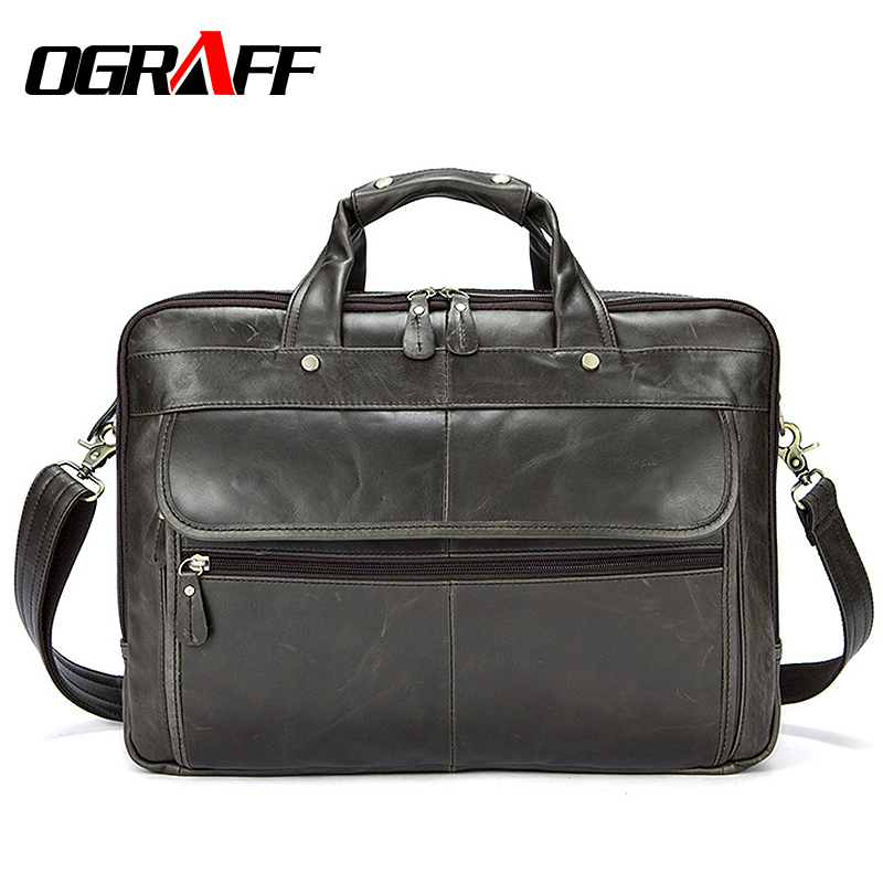 где купить OGRAFF Men Handbags Briefcase Document Genuine Leather Laptop Bags Business Birefcases Messenger Bag Male Crossbody Bags Lawyers дешево