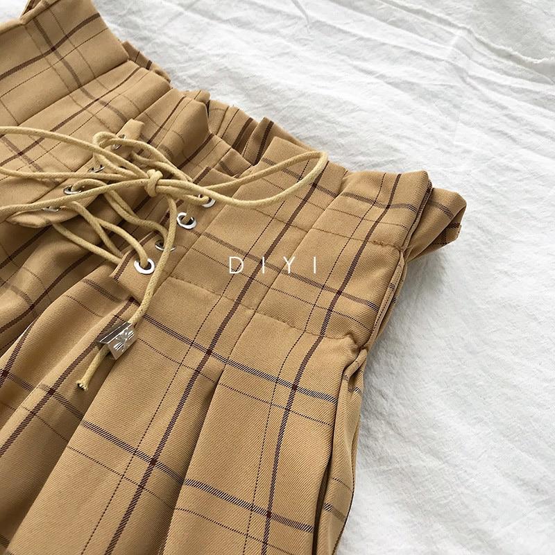 CamKemsey Japanese Harajuku Casual Pants Women 2019 Fashion Lace Up High Waist Ankle Length Loose Plaid Harem Pants 35