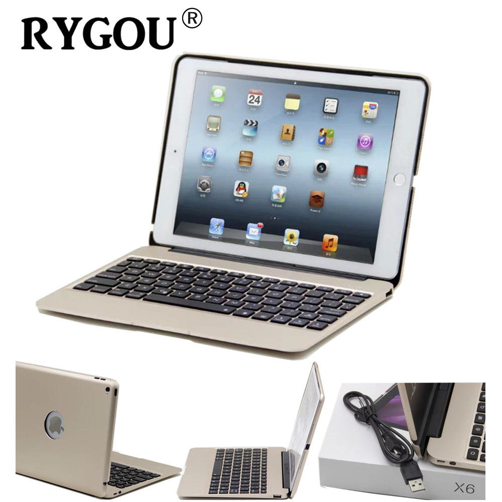 RYGOU For iPad Air 2 Aluminum Keyboard Case with 7 Colors Backlight Wireless Bluetooth Keyboard & Power Bank for ipad Air2 for ipad mini4 aluminum keyboard case with 7 colors backlight backlit wireless bluetooth keyboard