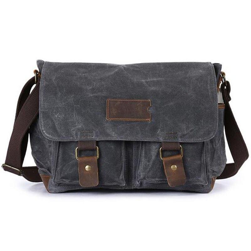 Men Designer Famous Brand Oil Wax Canvas Leather Bags for Men's simple bags Retro Shoulder Sling Crossbody Messenger Bags