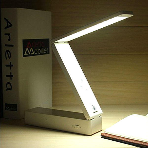 White 30 LED Foldable Rechargeable Reading Desk Table Lamp Light Touch Control Free shipping
