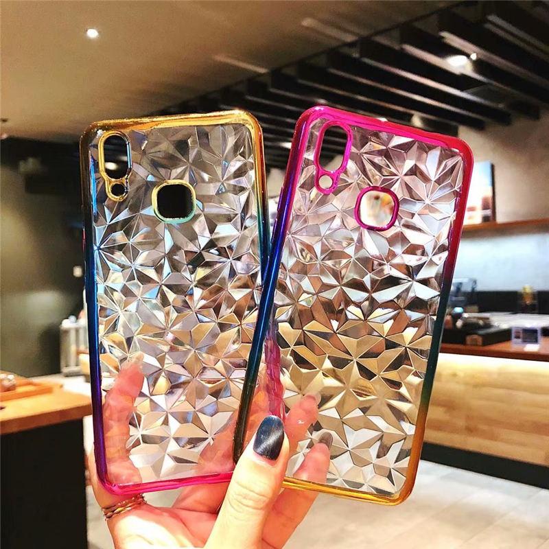 3D Gradient Diamond Plating Solf TPU Phone Case For OPPO F7 F5 A5 R11S Plus A79 A83 A1 A71 A3 Back Cover For OPPO F 5 Coque