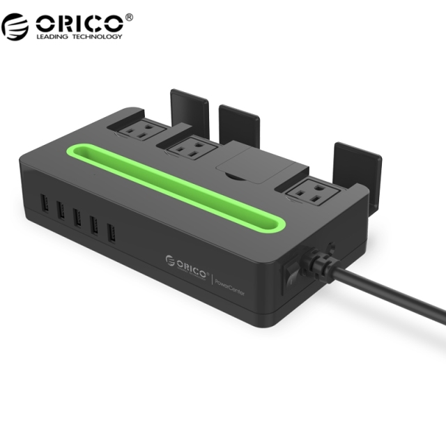 ORICO DST-4A5U-US High Smart Charging Desktop Surge Protector with 5 USB Ports and AC Outlets for Phones and Other Devices