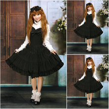 Freeshipping! V-1025 Black Cotton knielanges langen ärmeln Gothic Lolita Kleid schuluniform Cosplay Cocktailkleid Alle größe