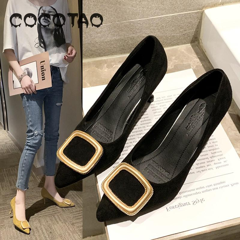 Large Size Women's Shoes 41 Single Shoes Women's 43 Thin Heels 40 High Heels New Cat Heel Button Wedding Shoes Women's Fat Feet